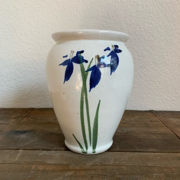 Other - Blue Iris Double-sided Pottery Vase
